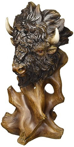 StealStreet Faux Wood Buffalo Collectible Decoration Design Animal Figurine Statue