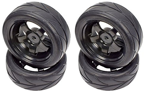 Apex RC Products 1/10 On-Road 12mm Black 5 Spoke Wheels V Tread Rubber Tires (Set of 4) #5000