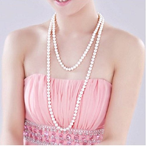 2pcs 60  White Pearl Bead Necklaces Flapper Beads Party Accessory Beads Accessory Long Pearl Sweater Necklace