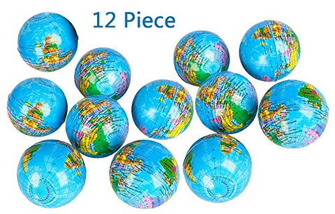 World Map Stress Squeeze Ball, 12 Globe Earth Stress ball - Novelty Toys, Party Favor, Bag Stuffer, Giveaway, Gifts - By Kidsco