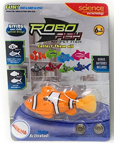 Robo Fish Electronic Water Activated Clown Fish, Orange