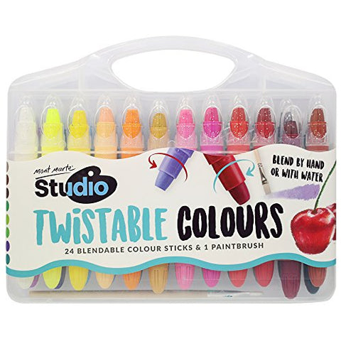 Mont Marte Studio Twistable Colors, 25 Piece. Includes 24 Water Blendable Painting Sticks and a Paint Brush, Silky Smooth Texture and Easy Glide.