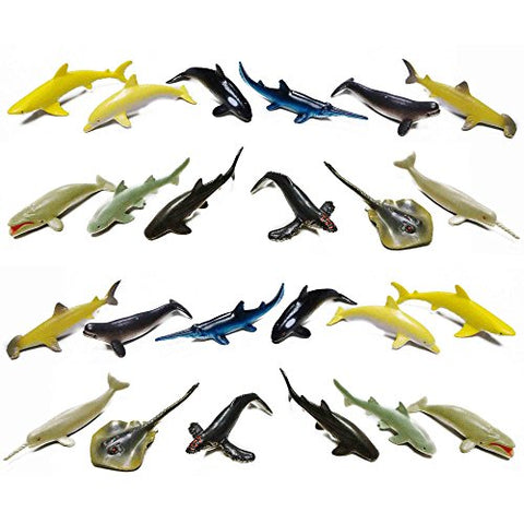 Fun Central (AZ913) 24 count 3 Inch Whale and Shark Toy Figure, Sea Creature Toys, Shark Toys for Boys for - Party Favors, Gifts, Prizes, Rewards, Giveaways  Assorted 2 Packs of 12pc