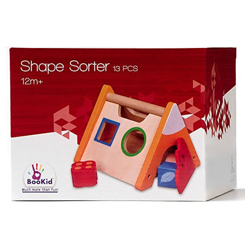BooKid Durable and Colorful Wooden Shape Sorter, Match Shapes, Educational Toy for Toddlers, Includes 4 Geometric Shapes in Different Colors on a Tent Shaped Sorter with Handle