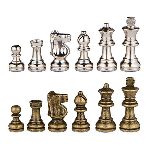 Odysseus Metal Weighted Chess Pieces with Extra Queens - Pieces Only  No Board  2.5 Inch King