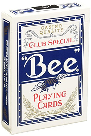 Bee Standard Index Poker Playing Cards Casino Quality Red or Blue 1 Deck