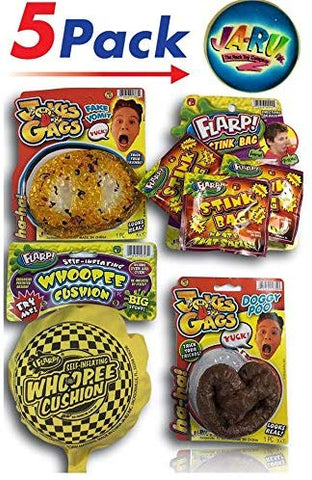 Flarp Whoopee Cushion, Poop, Vomit, Stink And Bouncy Ball Prank Bundle (Set Of 5). B4