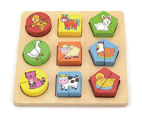 Shape Block Puzzle / Color and Shape Sorter - Farm Animals