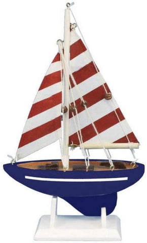 "Hampton Nautical Sailboat9-117 Wooden Nautical Delight Sailboat9-117 Sailboat 9"" - Sailboat Decoration - Sailboat9-117 Sailing Ship"
