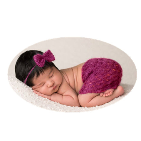Fashion Newborn Baby Photography Prop Boy Girl Photo Shoot Outfits Crochet Knit Cute Bowknot Headdress Skirts Photography Props(Deep Purple)