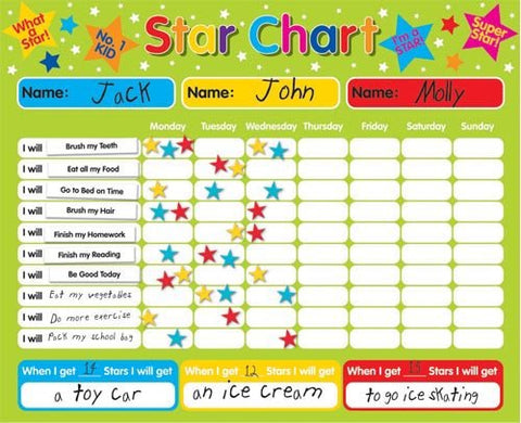 Magnetic Reward / Star / Responsibility / Behavior Chart for up to 3 Children. Rigid board 16  x 13  (40 x 32cm) with hanging loop