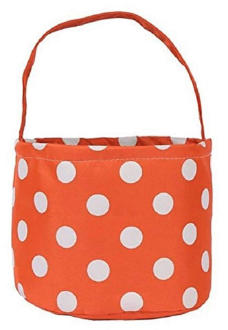 "Jolly Jon Halloween Trick Or Treat Bags - Kids Candy Bucket Tote Bag - Orange With White Polka Dots - Basket 6.75"" Tall X 9"" Diameter"