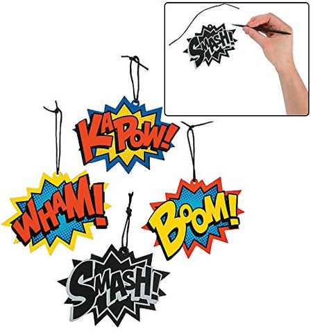 Magic Color Scratch Superhero Word Ornaments (24 Pieces) 5  x 4 . Boom!, KaPow!, Smash! and Wham!