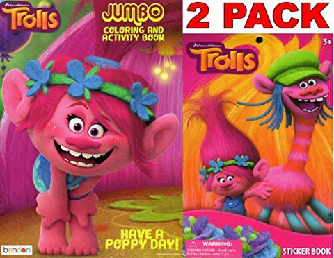 Dreamworks Trolls - Have A Poppy Day - Jumbo Coloring and Activity Book + Trolls Sticker Book
