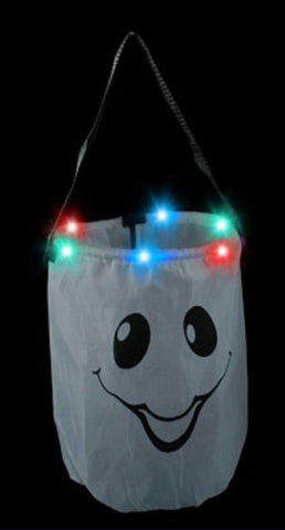 Mammoth Sales Led Light Up Pumpkin Ghost Trick Treat Candy Bag For Halloween (Ghost)