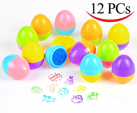 Easter Egg Stampers 12 PCs Great Easter Toys for Easter Eggs Hunt Game, Easter Theme Party, Easter Egg Stuff, Easter Basket Stuffers Fillers, Easter Stamps Gifts, Classroom Prize by Joyin Toy