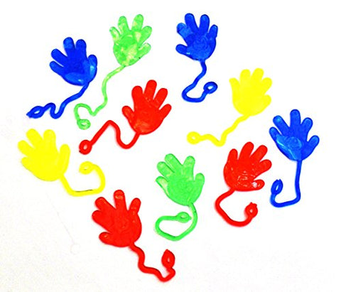 Easter Egg Fillers | Dazzling Toys Vinyl Sticky Hands and Feet Birthday Party Favors Carnival Prize - Hands, 1 1/4 Inch Hand with a 4 Inch String