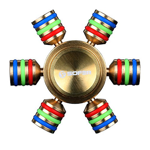 Sofer Fidget Spinner Zinc Alloy Material Toy Stress Reducer for children and adults. Helps relieve ADHD/ADD anxiety, Autism, Tri Spinner Fidget