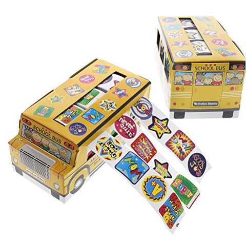 1080 Count Children's Stickers - Assorted Motivation Sticker Rolls School Student Encouragement School Bus Sticker - 5.75 x 2.75 x 2.5 inches