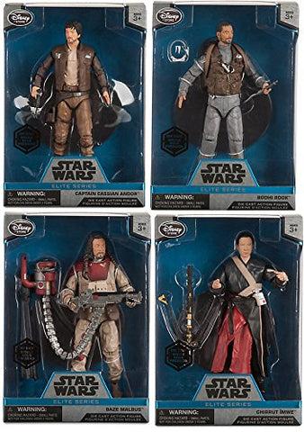 Elite Series Die Cast Action Figure - 6 1/2'' - Rogue One: A Star Wars Story Captain Cassian Andor / Bodhi Rook / Baze Malbus Elite & Chirrut mwe collectible bundle