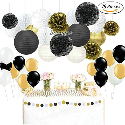 Sopeace 79 Pcs Black Gold Party Decoration Party Decor Tissue Paper Pom Pom Tassel Garland Polka Dot Tissue Poms Paper Garland And Latex Balloons For Wedding Baby Shower Decoration Bridal Shower