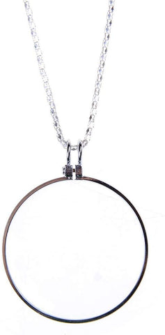 Magnifying Glass Necklace Mini Reading 5X Magnifier With 90Cm/36 Inch Chain Perfect For Reading Crafts Needlework Jewelry (Silver)