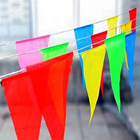 Aekiou 72m/235Ft 150pcs Multicolor Triangle Pennant Banner,Consecutive Nylon Fabric Decorations Flags Great Decoration for Wedding Party Decorations Graduation Ceremony