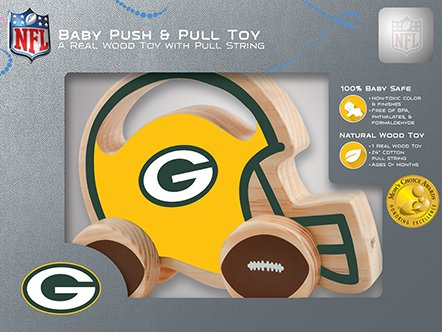 Masterpieces Nfl Green Bay Packers Natural Wood, Non-Toxic, Bpa, Phthalates, & Formaldehyde Free, Push & Pull Toy With Cotton String