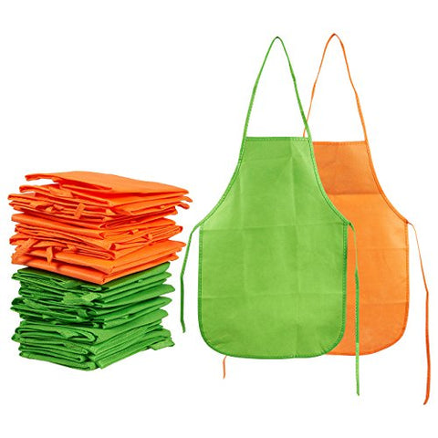 Artist Aprons for Kids, Child Smock for Painting, DIY, Cooking  Green and Orange, 12 of Each Color, 13 x 19 Inches