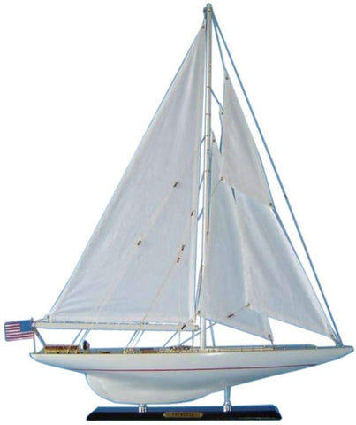 Hampton Nautical Wooden Intrepid Limited Model Sailboat Decoration, 27""