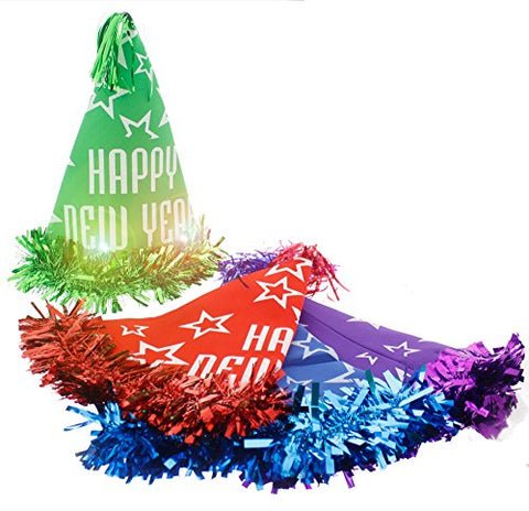 Festive New Years Light Up Flashing LED Lights Pointed Princess Cone Celebration Party Hats, Assorted Colors Green, Purple, Blue, Red, One Size, 4 Pack, 13  x 11