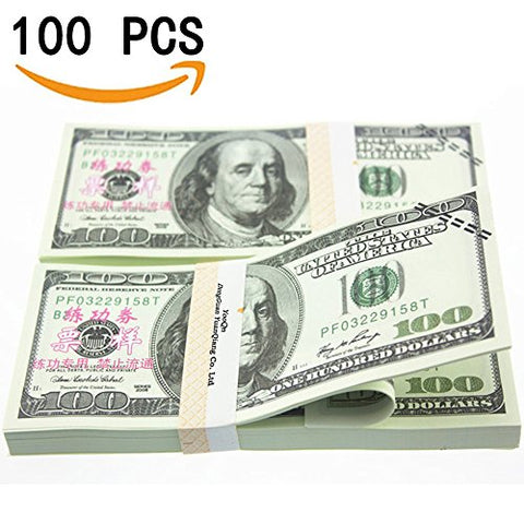Prop Money Play Money Pretend $10,000 Full Print New Style Money Copy of $100 Dollar Bills Stack, in Authentic Bank Strap.