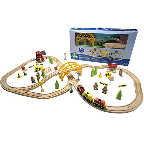 Moombike Wooden Train Set - 70 PCS Wooden Train Tracks, Magnetic Train Cars and Accessories Toy for Kids and Toddlers, Compatible with All Major Brands including Thomas