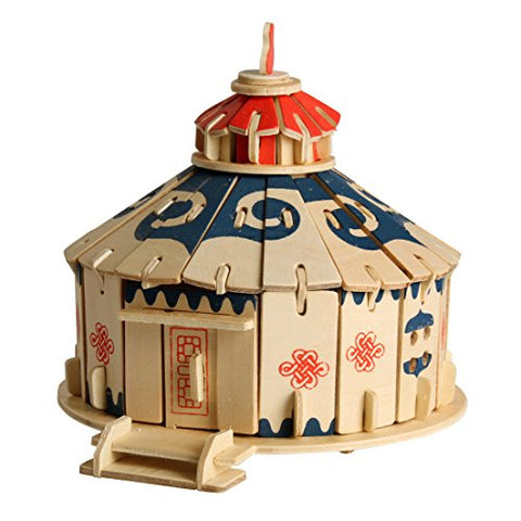 Andux Wooden 3D Puzzle Construction Kit 81 Pieces Jigsaw Puzzle Mongolian Yurts 3DPT-01