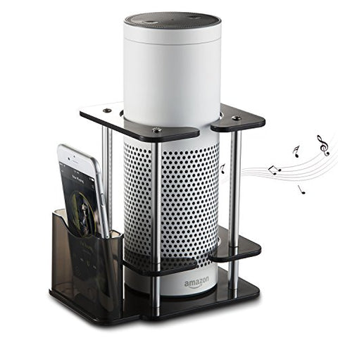 #1 Echo Stand- Onfoward Acrylic Speaker Stand For Alexa Amazon Echo Plus And 1St Generation Echo, With Remote Holder, Black, Enhanced, Stabilize From Kid For Ue Megaboom Boom