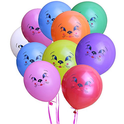 KUMEED Cat Face Balloons Mixed Color 12  Latex Pet Animal Balloon Birthday Party Decor Children Kids Gift
