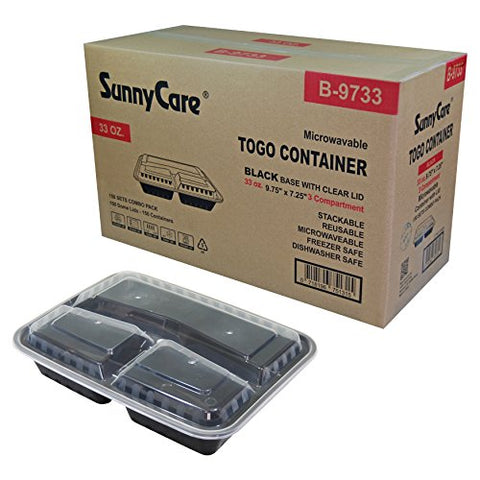 #B9733 Sunnycare 33 Oz.Black 3-Compartment Rectangular Microwavable Container With Lid -150/Cs