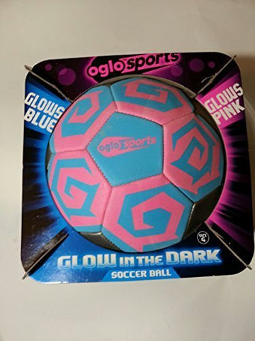 Oglo Sports Soccer Ball Glow In The Dark Pink Blue - Size 4 -