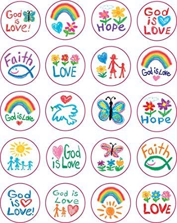 Carson Dellosa 5239 Kid Drawn Christian Faith Circle Shape Stickers, 240 Stickers (2Pk Of 120 Each)