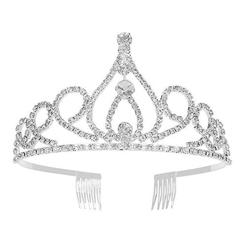 YDX Charm Wedding Bridal Bridesmaid Tiara Crown Headband Heart Queen Crown Girls Love Crystal Rhinestone Party Jewelry