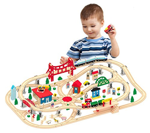 Kids Destiny Deluxe Wooden Railway Set with Vocal Sound and Lots of accessories (130+ pcs) - 100% Compatible with All Major Brands Including Thomas Wooden Railway System