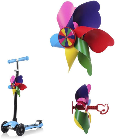 Scooter Handlebar Pinwheel For Kids, Mini-Factory Colorful Wind Spinner Decoration For Kid'S Scooter (Rainbow Stripes)