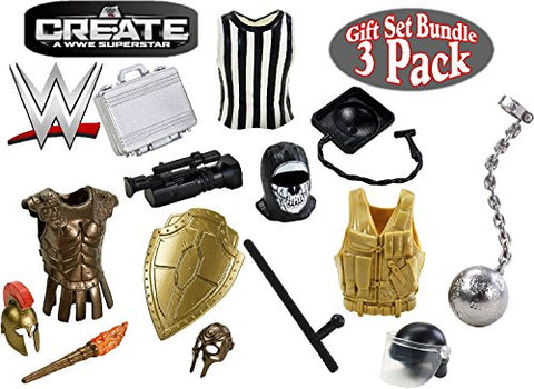 WWE Create A Superstar  Referee ,  Crime Fighter  &  Knight  Wrestling Accessories Gift Set Bundle -