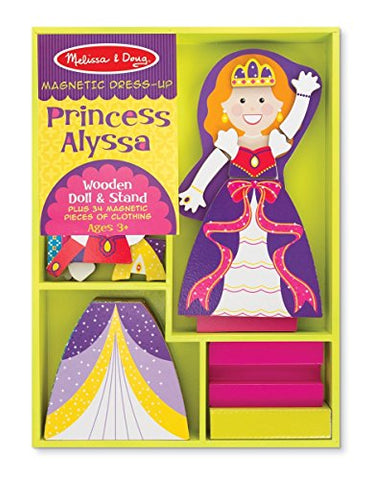 Princess Alyssa - Magnetic Dress Up Wooden Doll & Stand