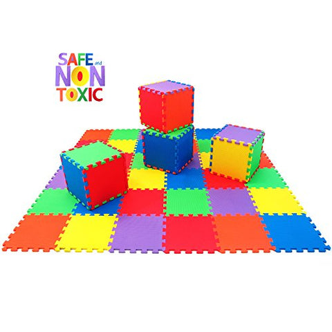NON-TOXIC 36 Piece Children Play & Exercise Mat - Puzzle Play Mat for Kids & Toddlers, 6 Vibrant Colors