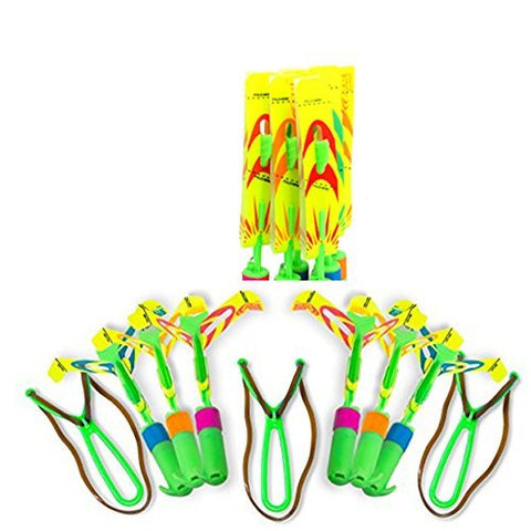 NEX&CO Rocket Launcher Toy, 6 Rockets Set Slingshot Light Up Copter Arrow Fly in Air Spinning Night Toys for Kids