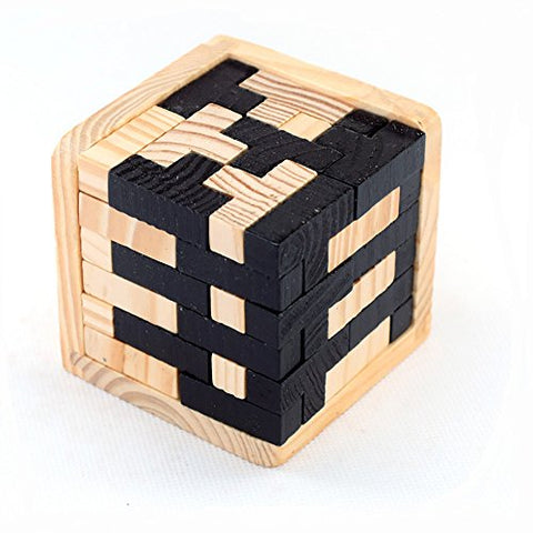 StillCool 3D Wooden Puzzles Brain Teaser 54 T-shaped Tetris Blocks Geometric Intellectual Jigsaw Logic Puzzle Educational Toy for Toddlers Kids and Adults