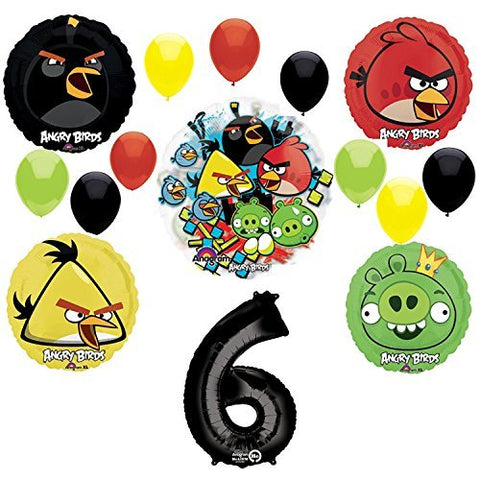 Angry Birds 6th Birthday Party Supplies and Group See-Thru Balloon Decorations