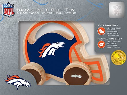 Masterpieces Nfl Denver Broncos Natural Wood, Non-Toxic, Bpa, Phthalates, & Formaldehyde Free, Push & Pull Toy With Cotton String