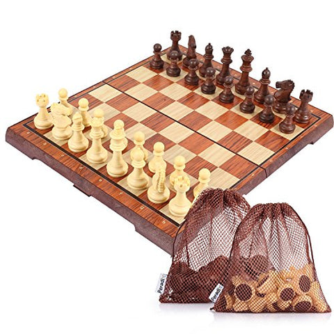 Peradix Magnetic Chess Set Board Game Toy Deluxe Folding Board 14   12  Educational Tactics Brain Teaser 32 PCS Portable for Travel